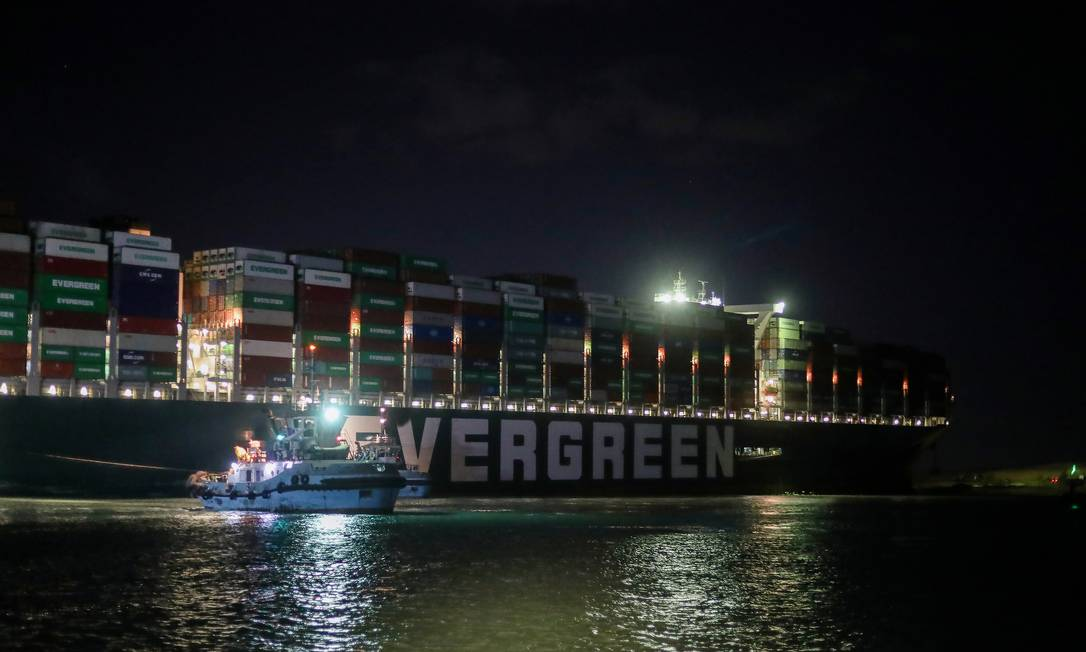 An isolated container ship, the Ever Dado, one of the largest container ships in the world.