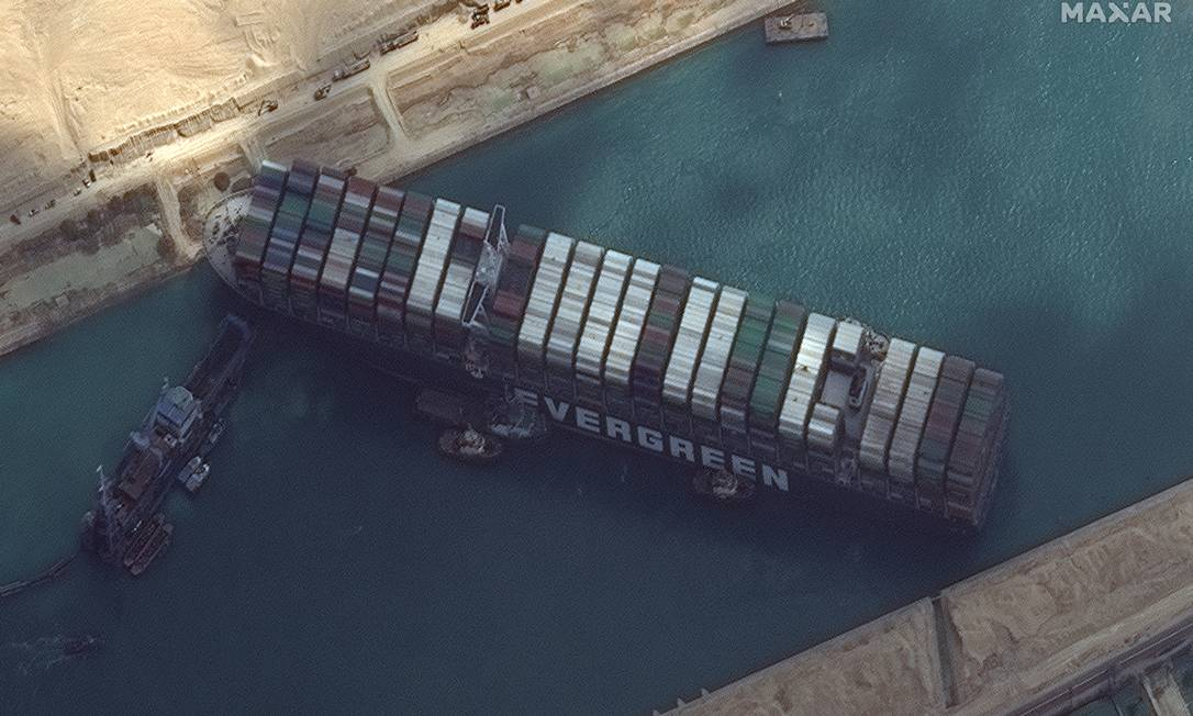 Satellite image of the Maxus Technologies satellite showing that it had ever entered the Suez Canal Photo: Maxus Technologies via / Video