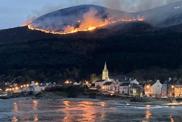 Large fire on the highest mountain in Northern Ireland