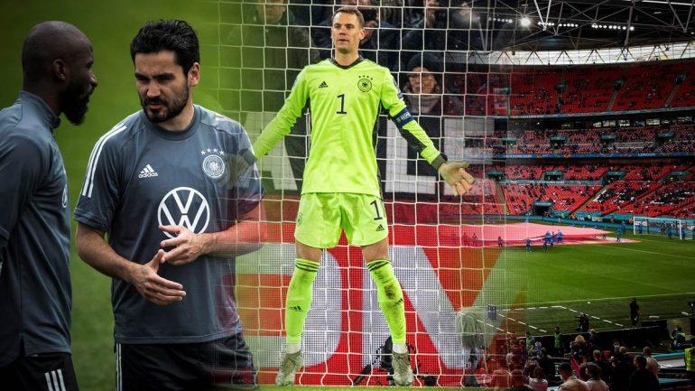 Können Antonio Rüdiger (links) und Ilkay Gündogan spielen? Und wie sehr wird Keeper Manuel Neuer (Mitte) in Wembley gefordert?