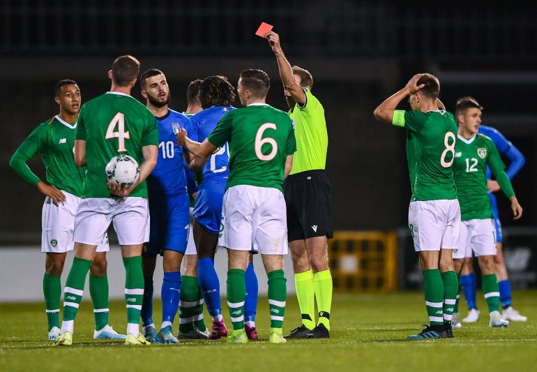 Italy draw with Ireland under-21s: Keane sent off in the second half