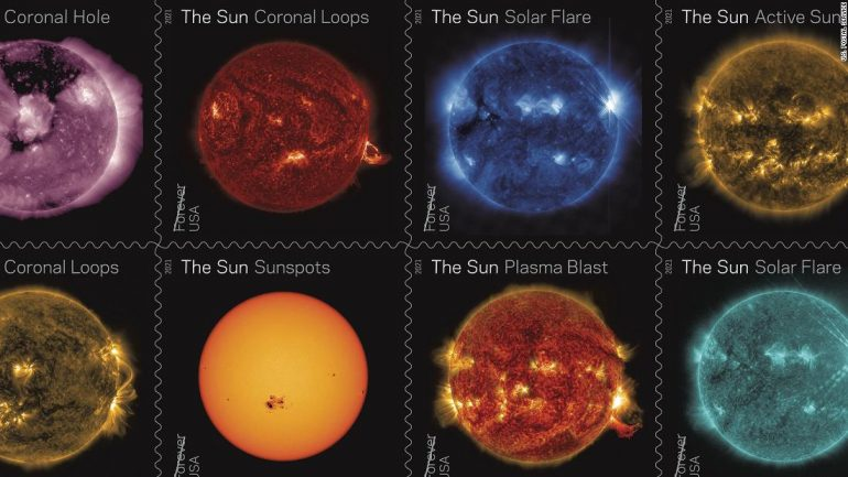New postage stamps celebrate decades of observing the sun from space