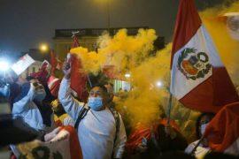Supporters of Peruvian presidential candidate Keiko Fujimori protest against the imminent victory of leftist teacher Pedro Castillo in Lima, Peru Photo: Alessandro Cinque / REUTERS