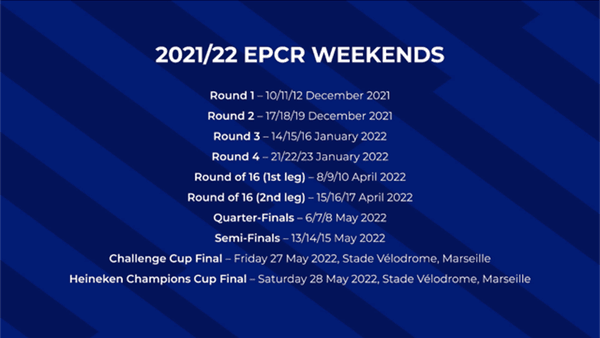 Calendar of this European Rugby Cup