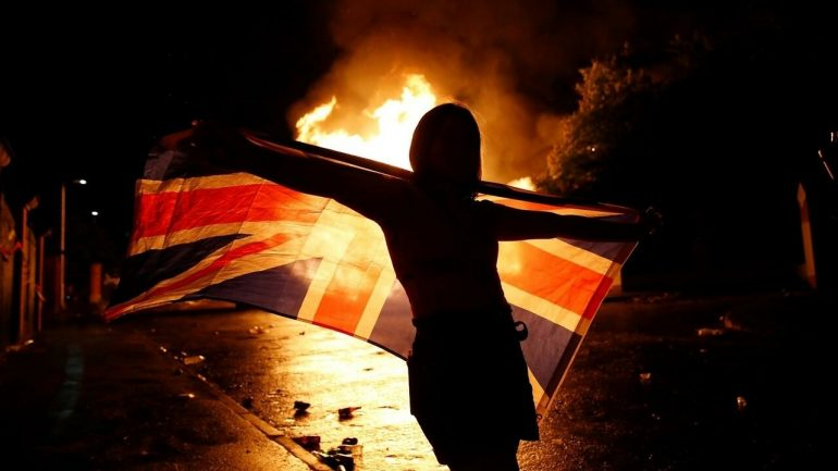 In Belfast, burning to mark as being from the United Kingdom