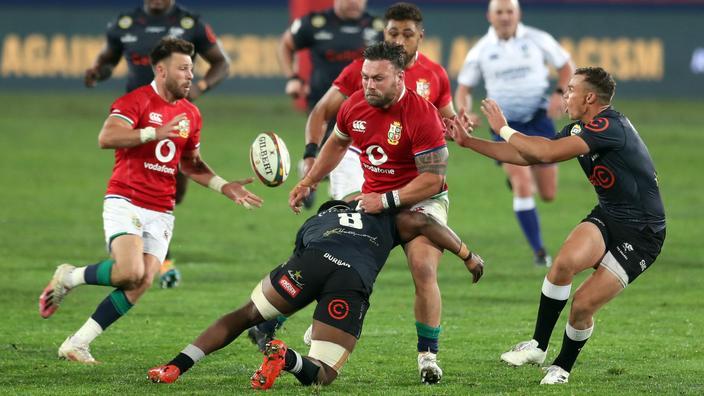 Les lions britanniques et irlandais contre les Sharks à Johannesburg le 7 juillet 2021.