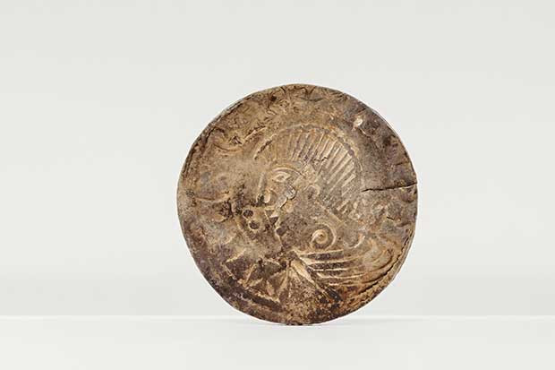 Coin Discovered by the Isle of Man with a statue of Citric with the beard of King Silkin of Dublin © Monks National Heritage