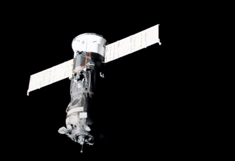 The Russian cargo ship Progress arrived at the space station after a two-day voyage