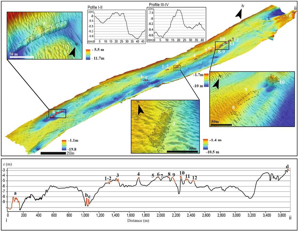 The bottom of the Treporty Canal was mapped with relief sonar.  © Madricardo et al., 2021