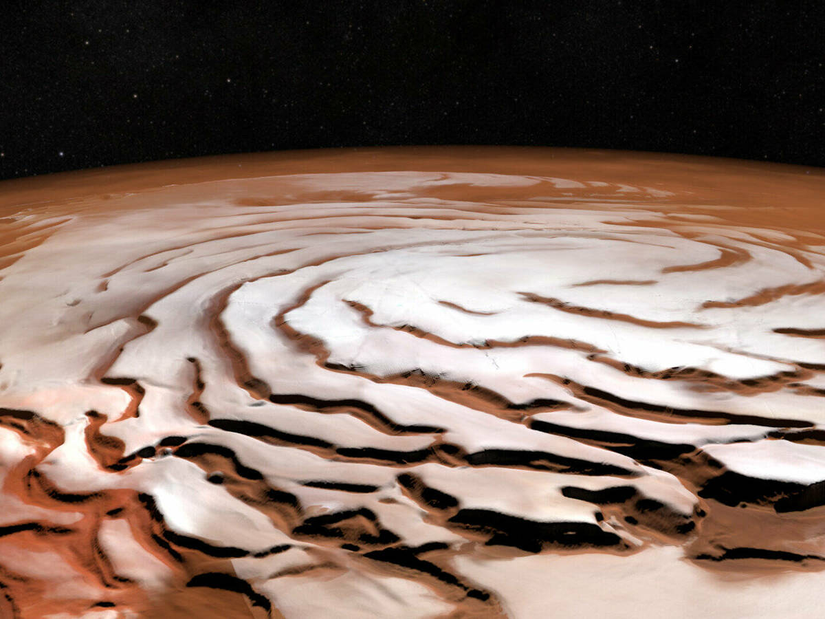 Photo: No water, no clay under the ice at the south pole of Mars.  (It)