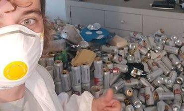 Person responsible for removing 8,000 empty beer cans left in an apartment in England
