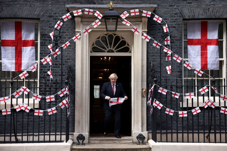 Downing Street decorated with St. George's crosses for the European final