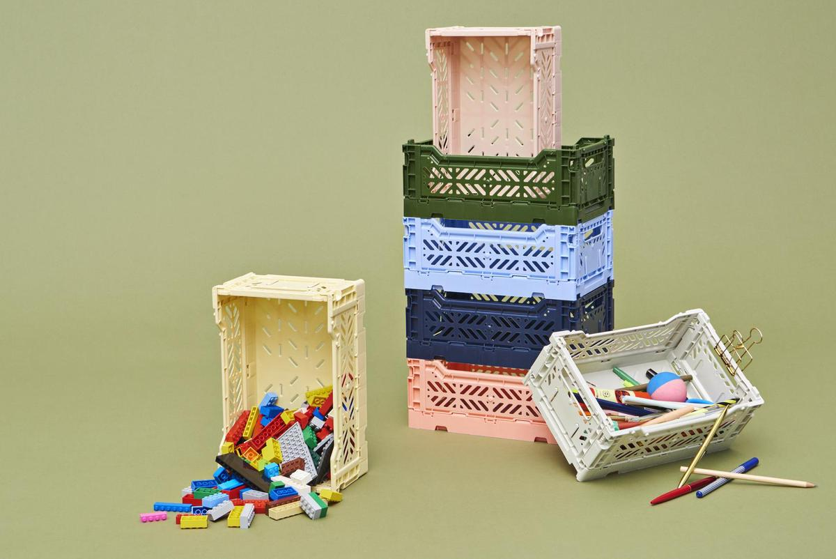 Pastel colors should have a calming effect.  That's right when it comes to adjustment.  Here are the crate boxes from Hay.