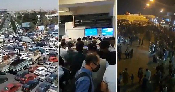 After the Taliban attack, videos show the rush to Kabul airport