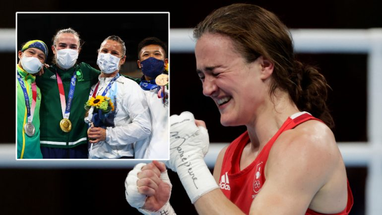 """Irish boxing gold medalist Harrington praises """"true Olympic spirit"""" as he invites opponents to the podium at the medal ceremony"""