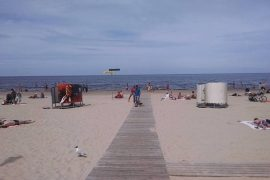 Latvia has a beach: Latvians play volleyball Soviet dictators visit the Baltic Sea city of Jurmala on vacation    The world