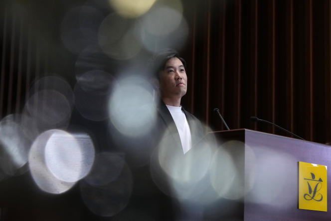 Opposition MP Cheng Chung-Thai at a press conference in Hong Kong on Thursday, August 26, 2021.