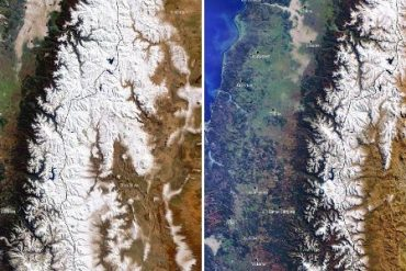 """The """"Megaseca"""" mountain peaks in the Andes leave no snow"""