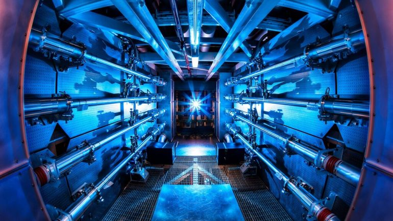 The researchers started fusion reactions using a giant laser
