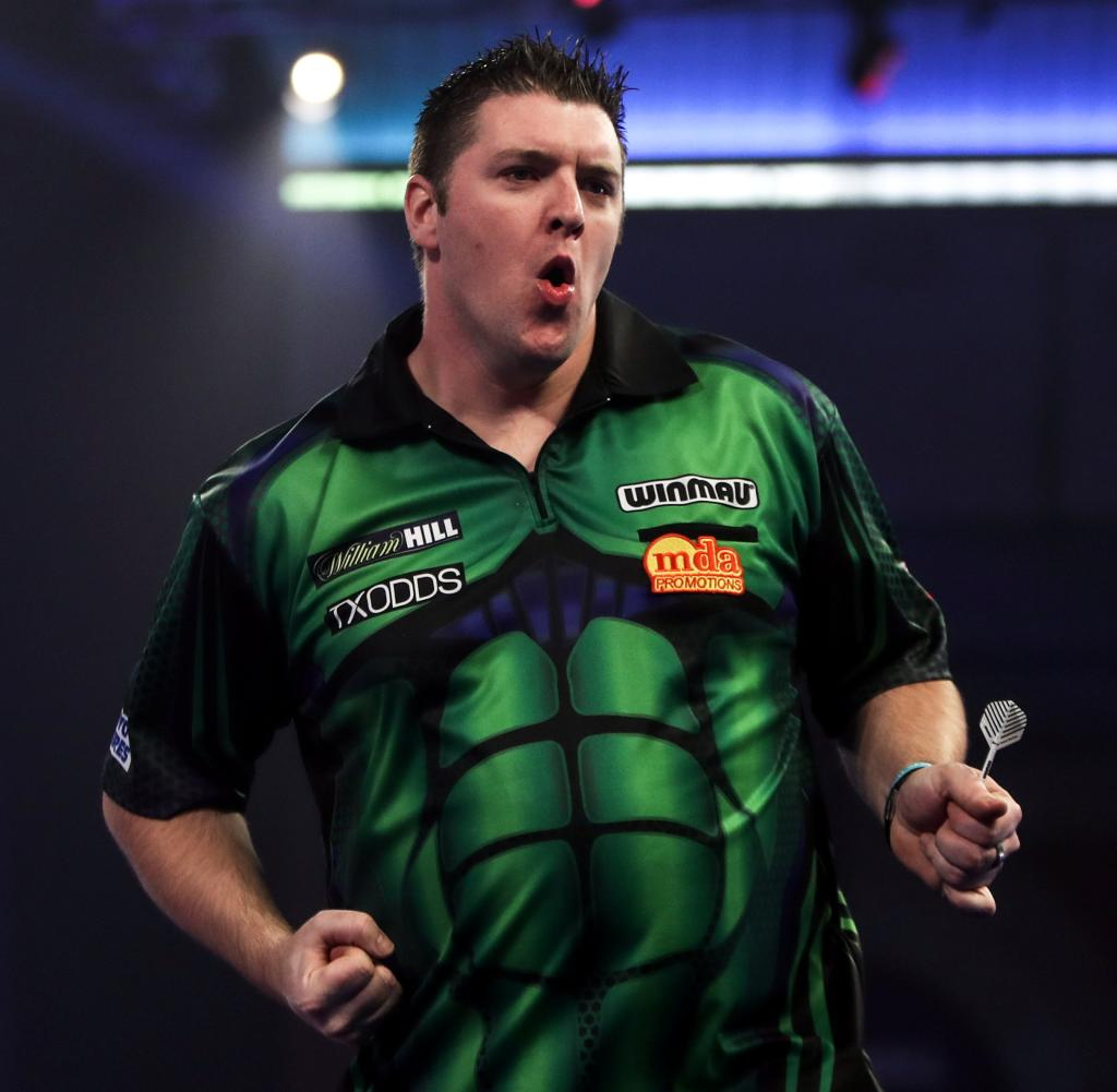 Daryl Gurney had to endure five competitive darts against him and eventually happily reached the second round
