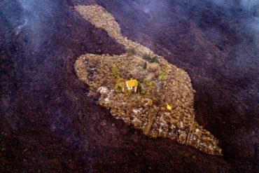 La Palma volcanic eruption: An unusual image of a house miraculously surviving a lava flow