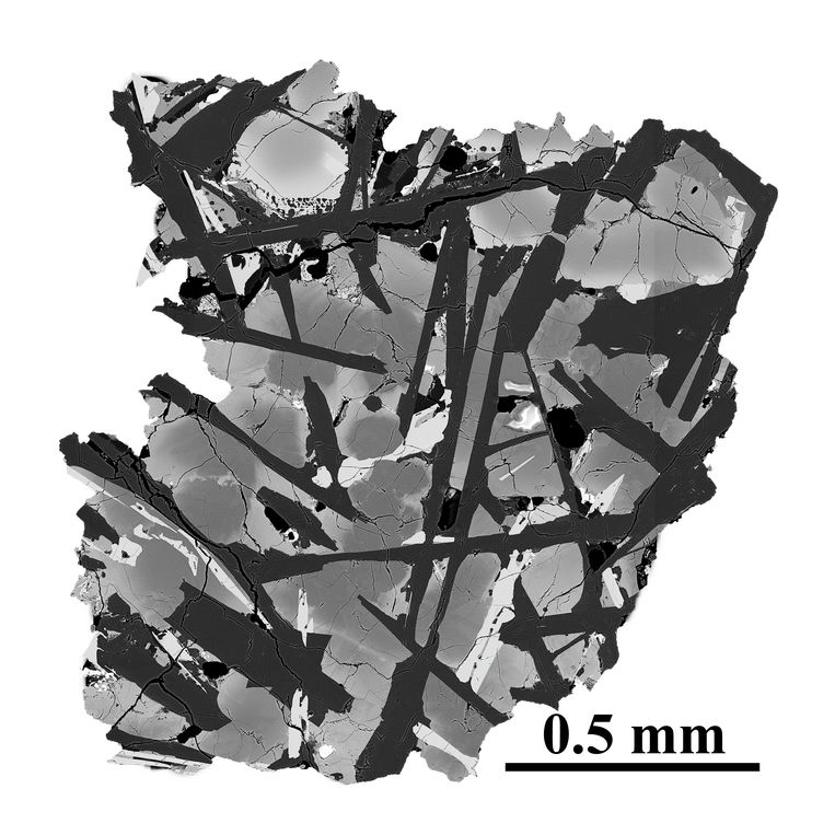 Electron micrograph of a slice of basalt from the moon.  Image CAGS