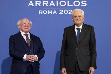 Il presidente della Repubblica d'Irlanda Michael D. Higgins con il capo di Stato italiano Sergio Mattarella
