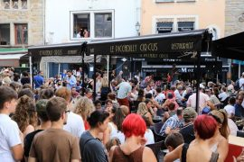 Big party in front of Saint-Barbe