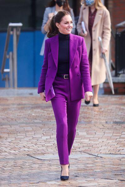 Kate Middleton in a purple pantsuit