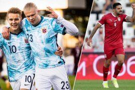 Martin Ödegaard und Erling Haaland feiern den Sieg gegen Lettland (links). Serbiens Goalgetter Aleksandar Mitrovic jubelt über die Tabellenspitze in der Gruppe A.